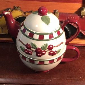 tender treasures Dining - Tea Pot and Tea Cup, Cherry Design, Maroon Color!